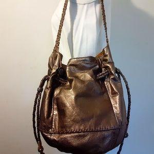 The Sak Metallic Bronze Leather Bucket Bag